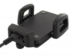 telebox universal Smartphone Handyhalterung mit Stecker-Halterung für Ladekabel