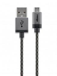 Cabstone Micro-USB Lade- und Syncronisationskabel mit Textilummantelung und Metallstecker 0,3m