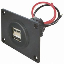 2-fach USB Einbaubuchse Einbausteckdose Steckdose 12V – 24V mit Montageplatte