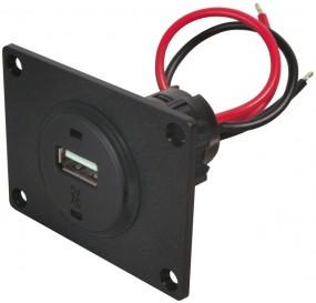 USB-Einbau-Steckdose mit Montageplatte für 12-24 Volt / USB bis 3000 mA