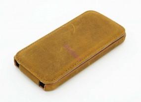 iPhone SE/ 5 / 5s Handytasche aus echtem Wildleder mit Flip Deckel in beige