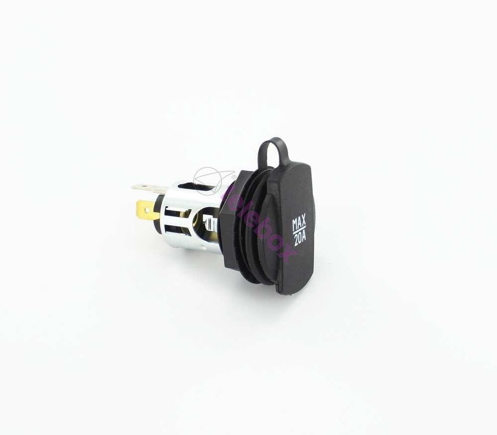 zigarettenanz nder einbau steckdose f r 12 24 volt bis 20a dose mit deckel 12 24 volt. Black Bedroom Furniture Sets. Home Design Ideas