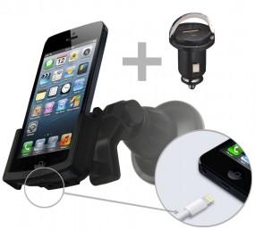 Apple iPhone SE / 5 / 5s Fix2Car Handy Auto Halterung mit Saughalterung + USB KFZ Lader